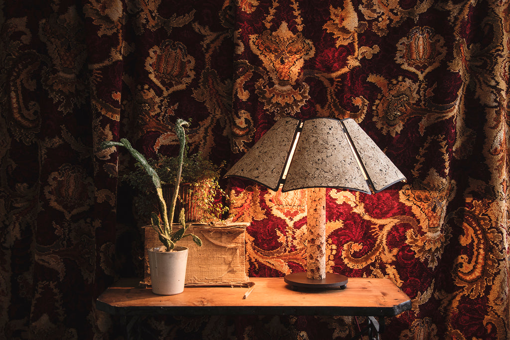 Sustainable cork table lamp. Vintage interior design Cassie Nicholas Studios
