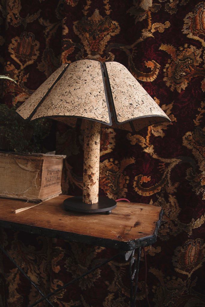 Sustainable cork table lamp. Product photographer in Bristol Dig Haushizzle