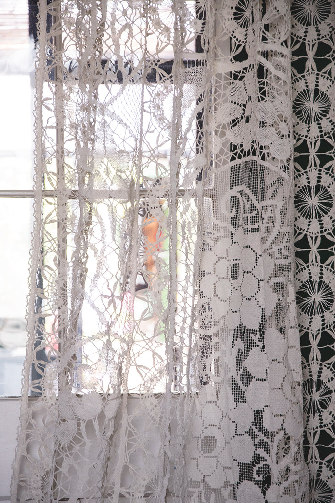 Antique Lace and Crochet Curtain.