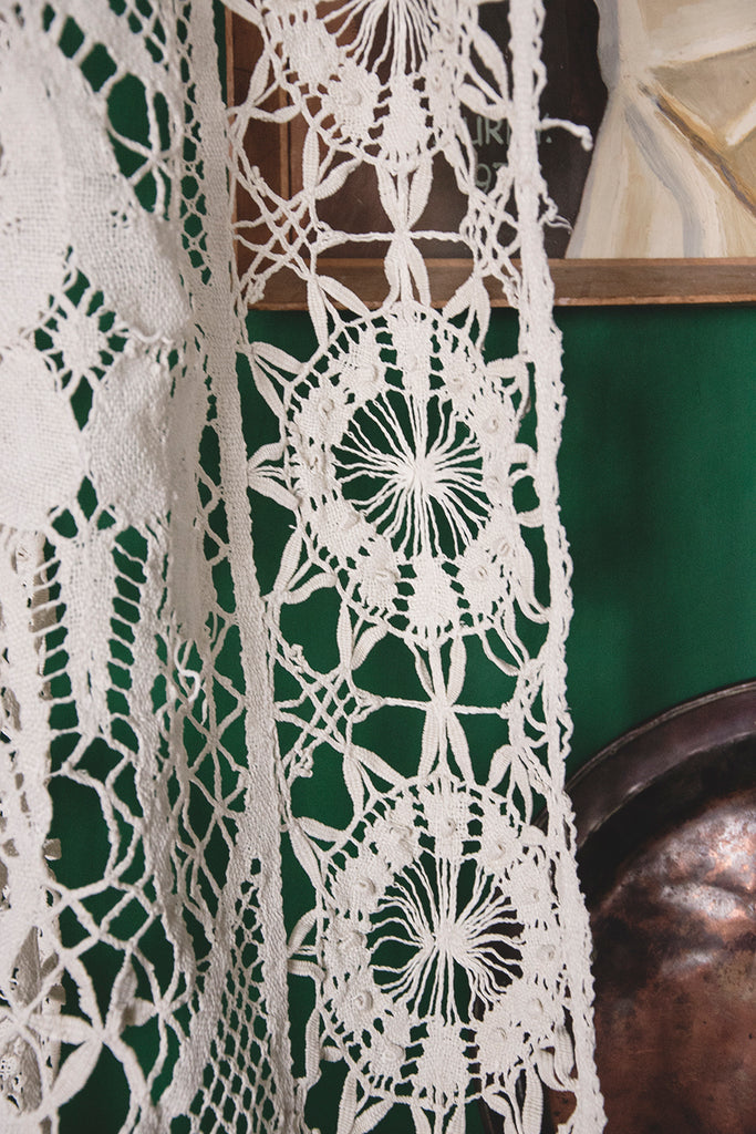 Antique Lace and Crochet Curtain