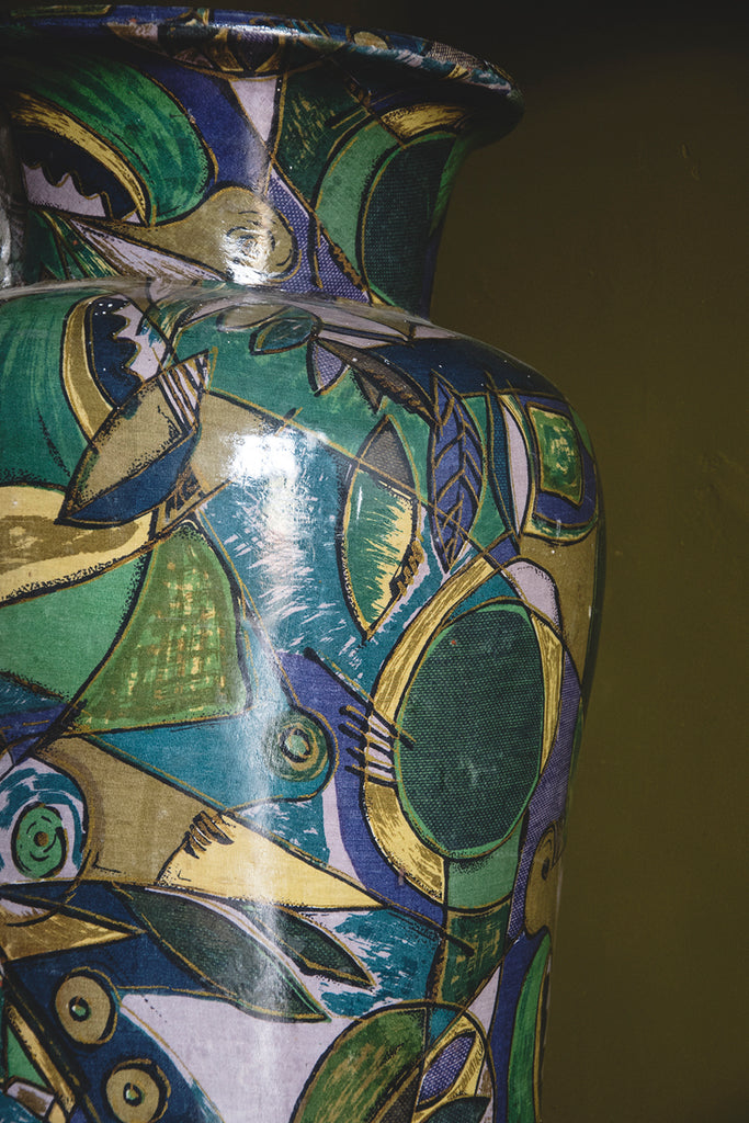 Oversized Decorative Urn blue and green