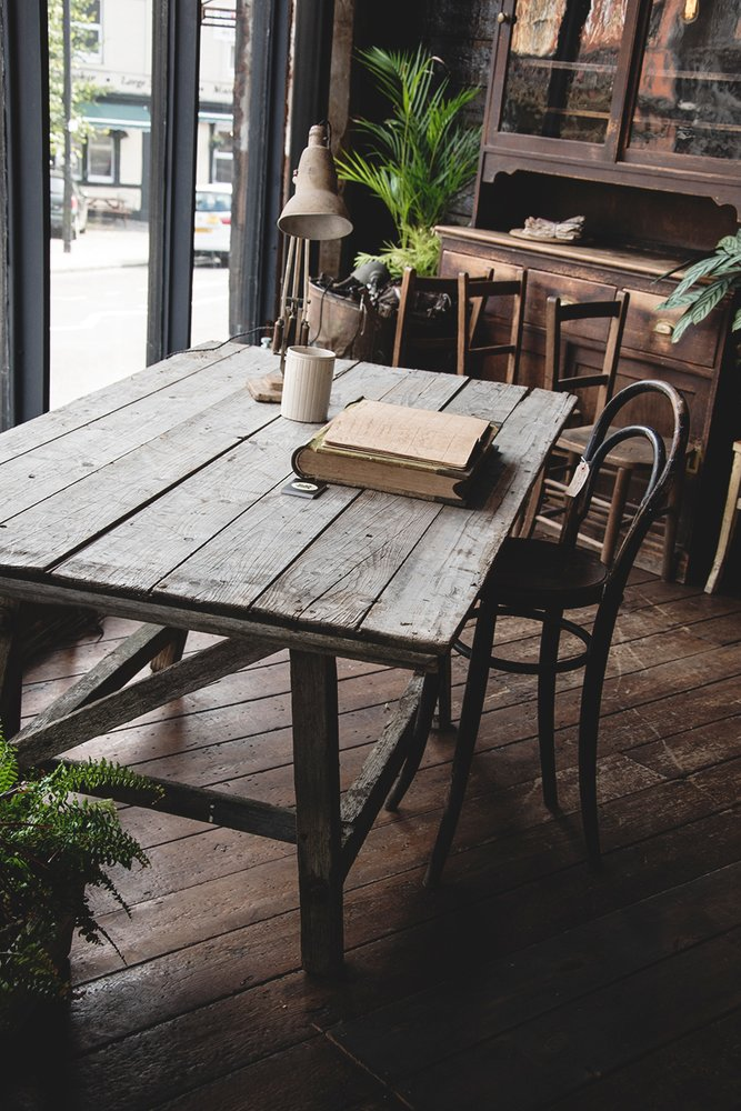 Rustic table desk. Worn wooden furniture Bristol
