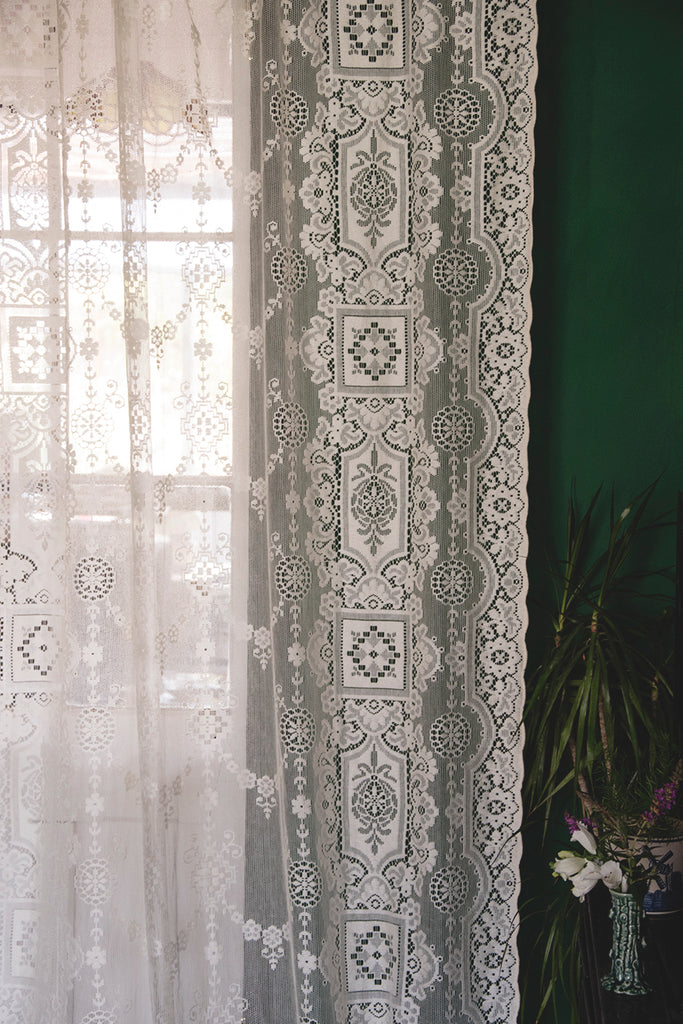 Vintage white lace curtains, decorative antiques Bristol