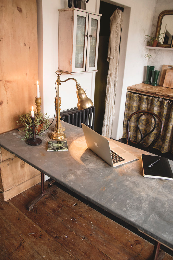 French industrial zinc table with metal legs