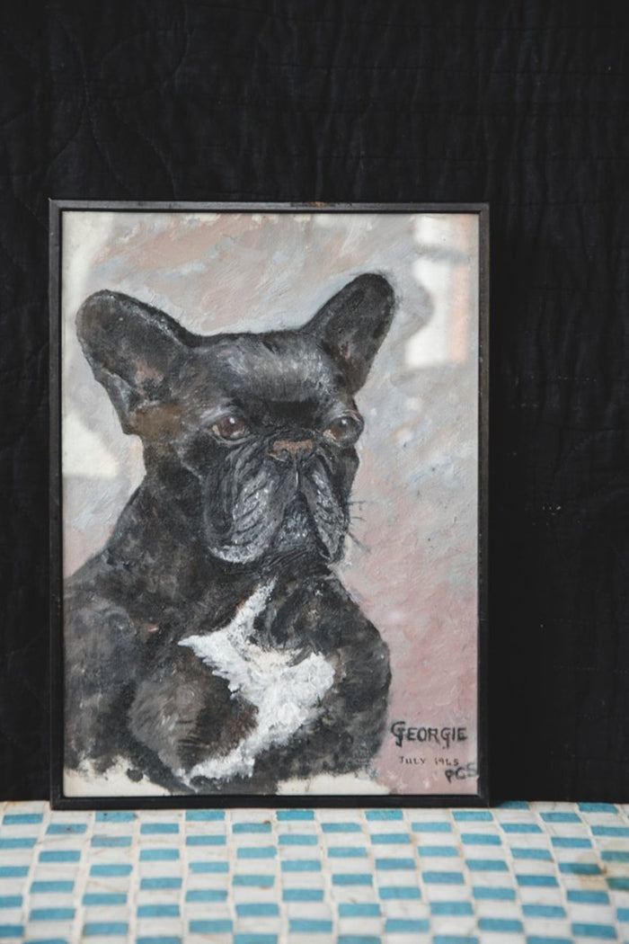Vintage painting of a French Bulldog. Amateur artist artwork. Bristol Interior Design