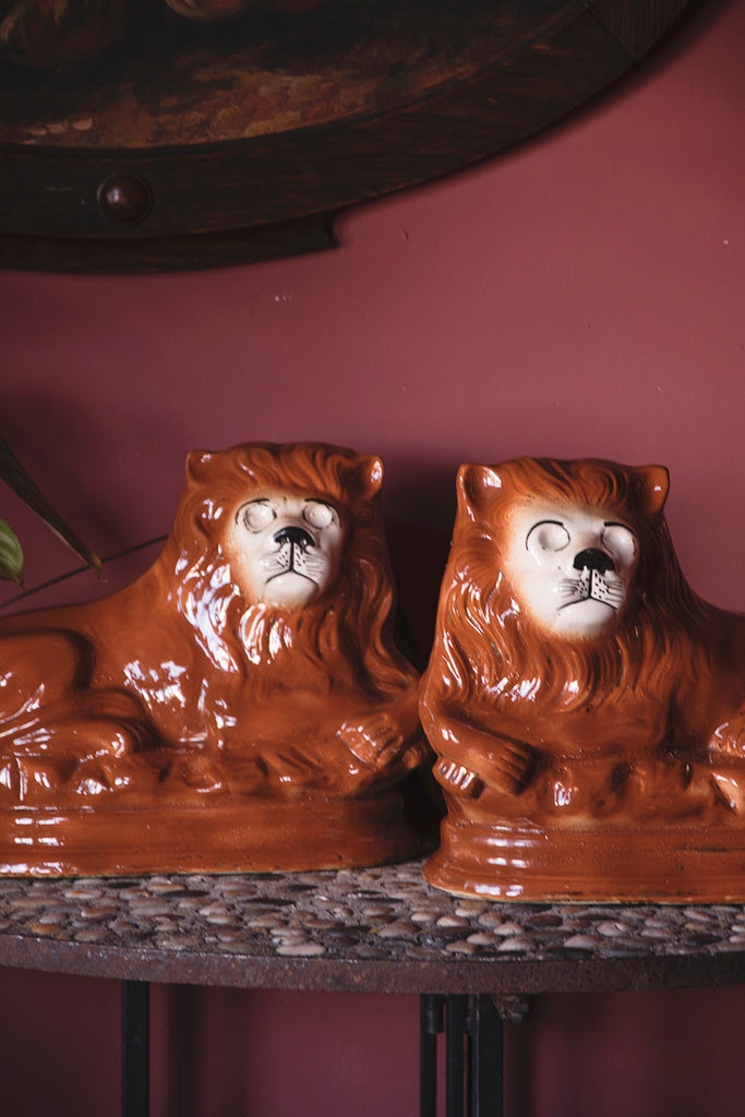 vintage ceramic lion ornaments