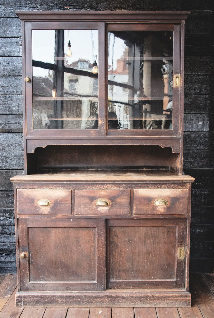 Antique glazed dresser with glass doors. Great patina. Interior styling Dig Haushizzle.Bristol