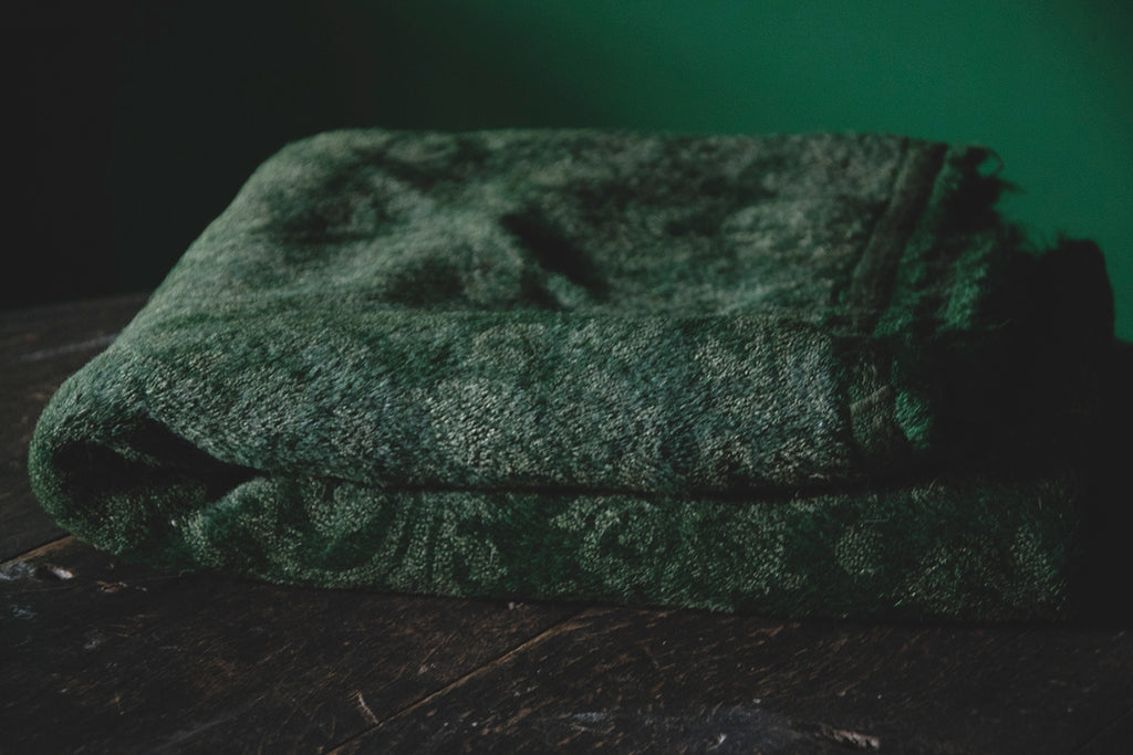 Antique green tablecloth. Interior design and product photography Cassie Nicholas Studios