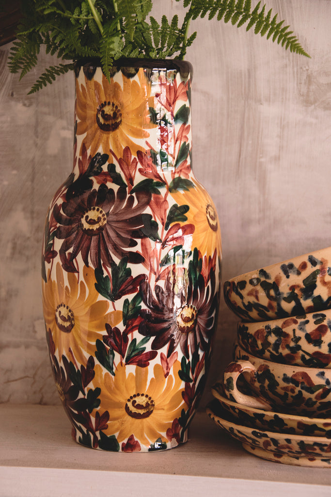 Hand painted ceramic floral vase