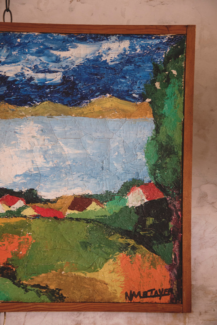 Folk art landscape painting