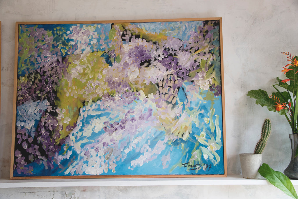 Large Pair of Framed Acrylic Paintings