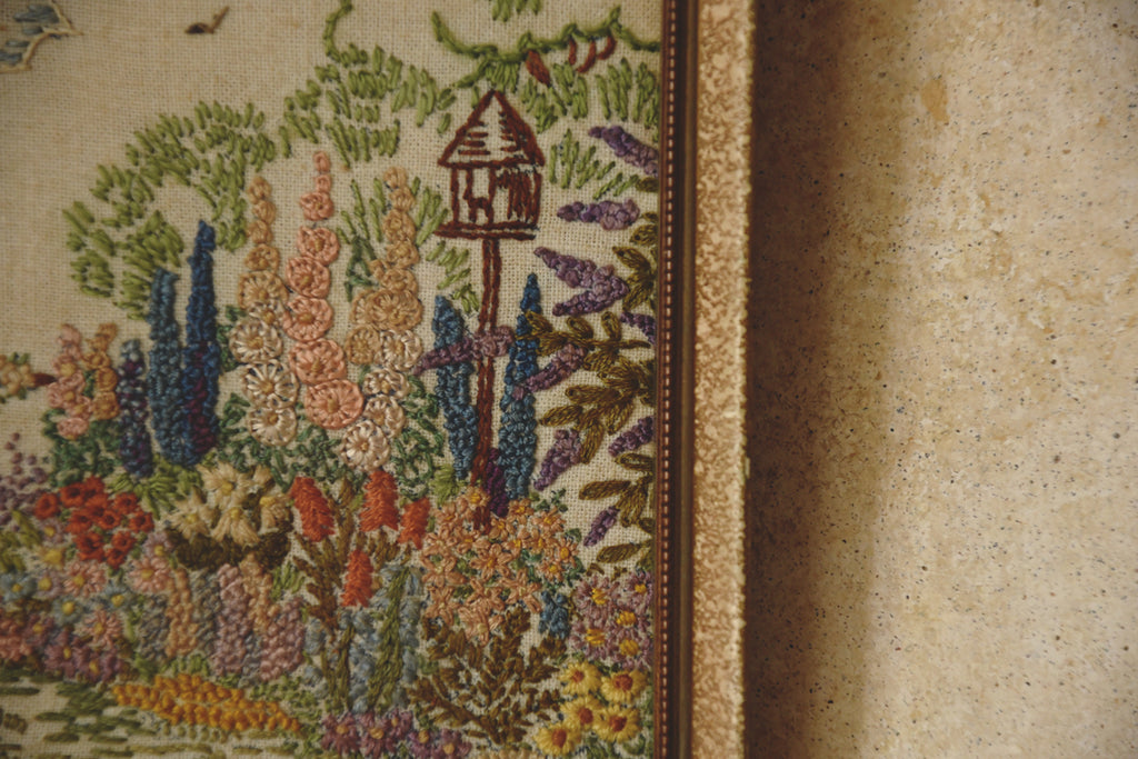 Vintage embroidery of a garden scene. Original frame artwork. Interior design and styling Dig Haushizzle Bristol