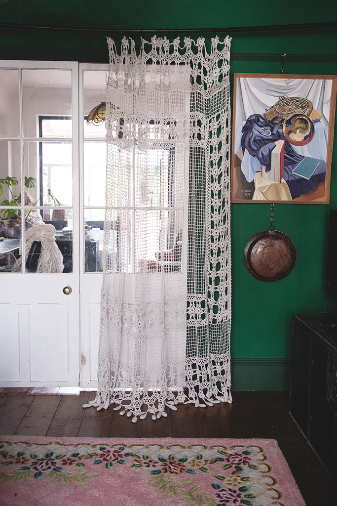 Vintage Crochet Curtain. Interior design masters TV Cassie Nicholas