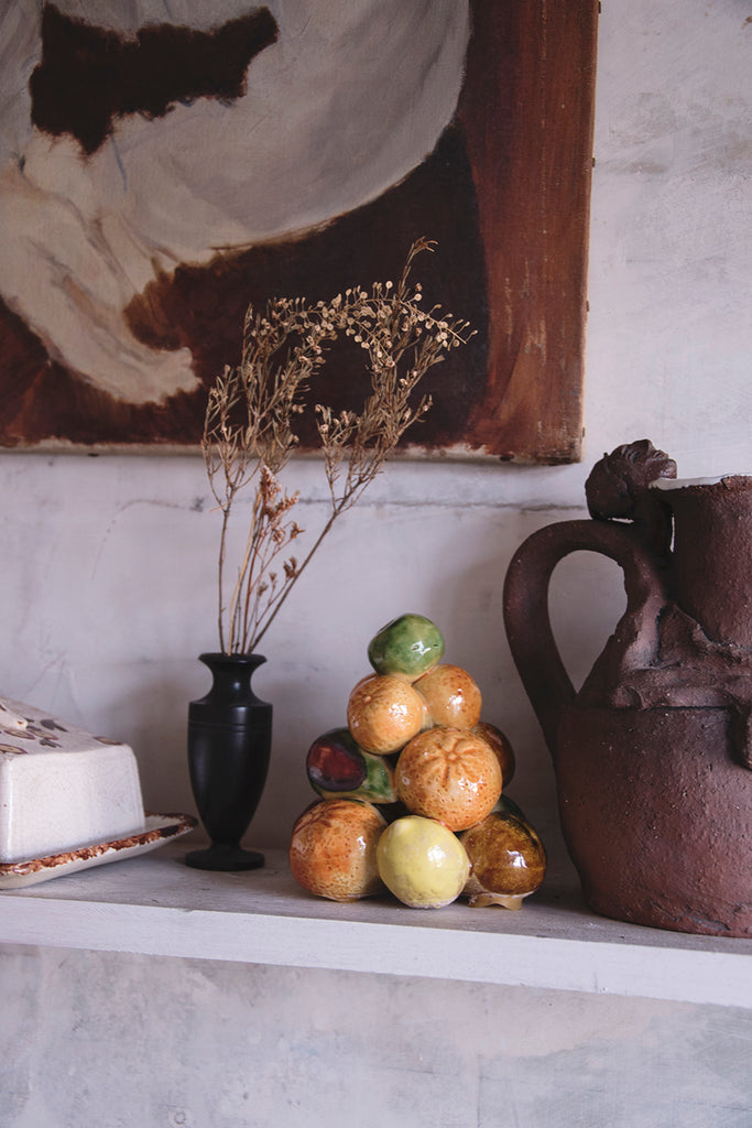 Vintage Ceramic Fruit on a shelve