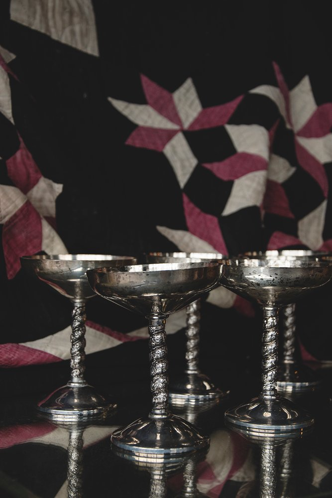 set of six silver plated vintage goblets. tarnished silver patina. Decorative styling Bristol