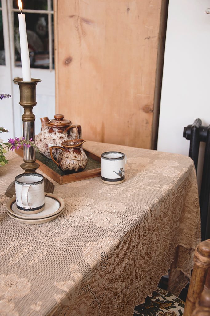 Vintage Gold Lace Tablecloth