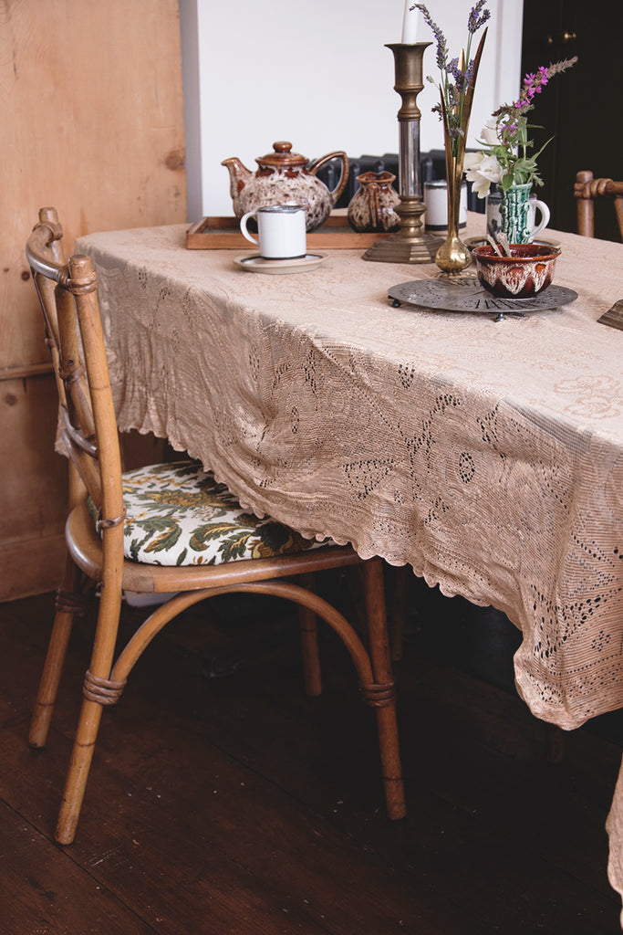 Vintage gold lace tablecloth . Interior design bristol Cassie Nicholas Studios