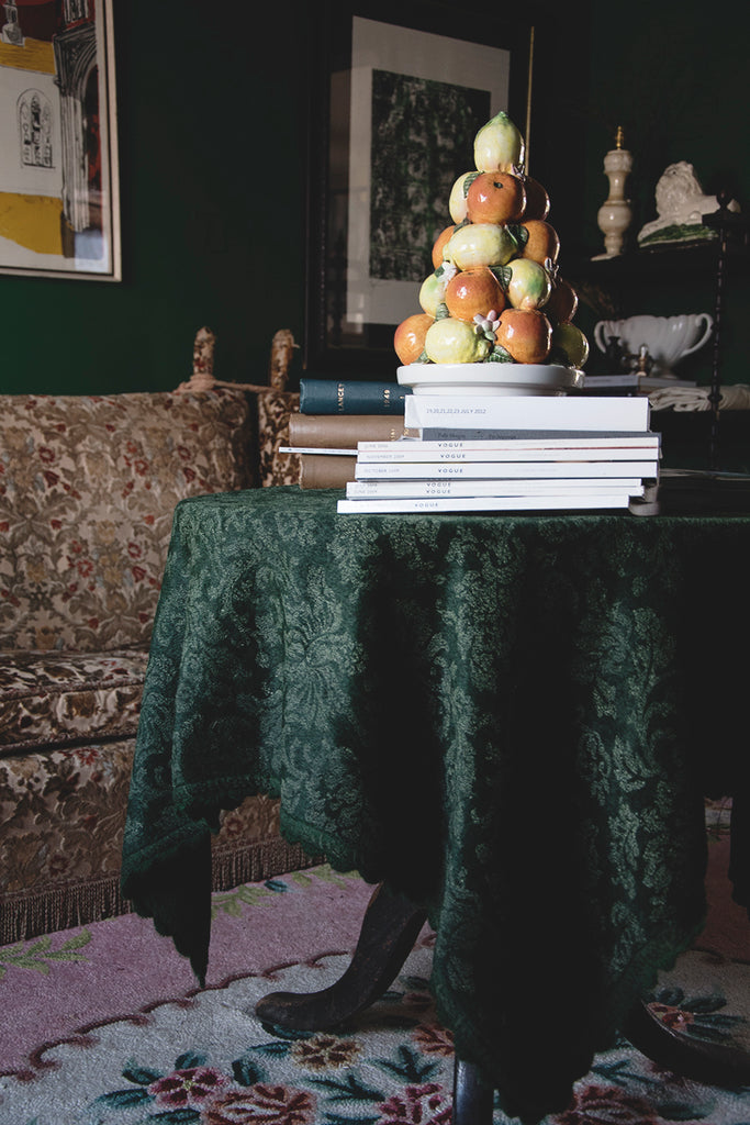 Antique mohair tablecloth. Interior design Bristol Cassie Nicholas Studios