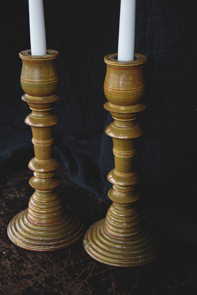 Hand Painted antique candlesticks. Vintage and antique furniture Bristol