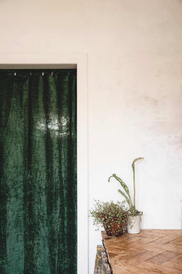 Vintage Green Chenille Door Curtain
