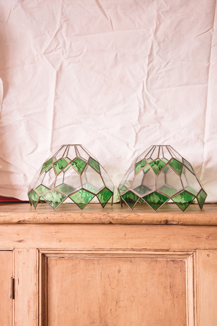 Pair of vintage glass light shades