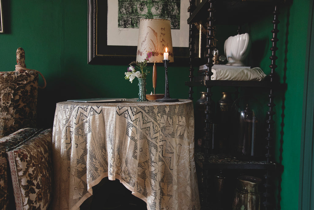 Antique lace curtains. Interior designer Cassie Nicholas Studios