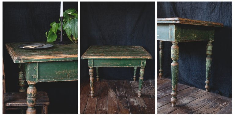 Antique decorative table in original green paint. Vintage dining table Bristol