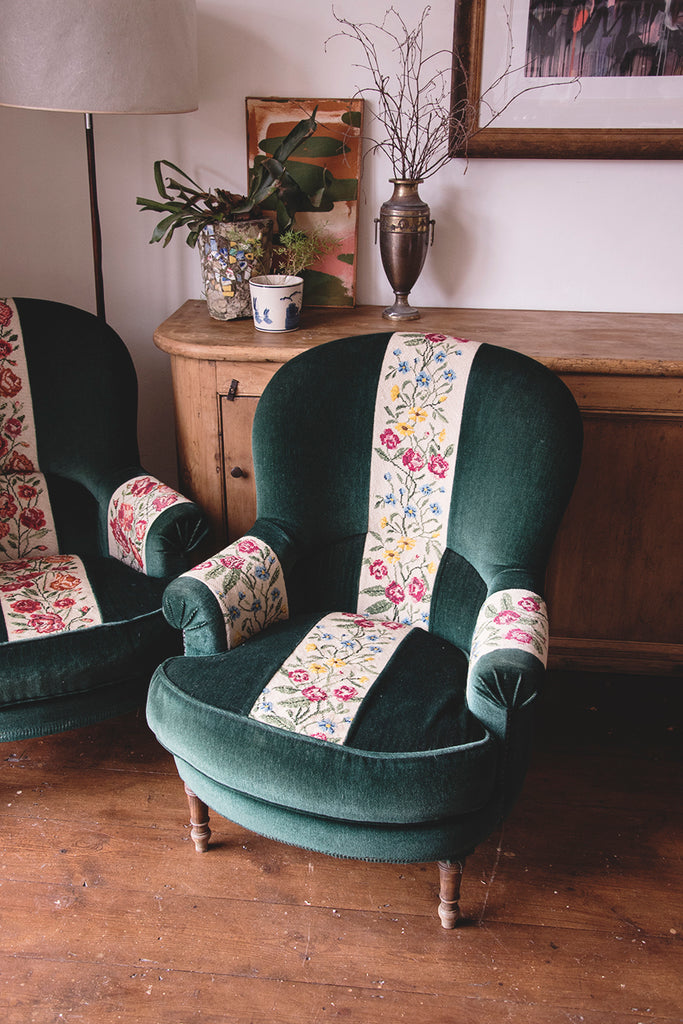 Pair of Green vintage armchairs