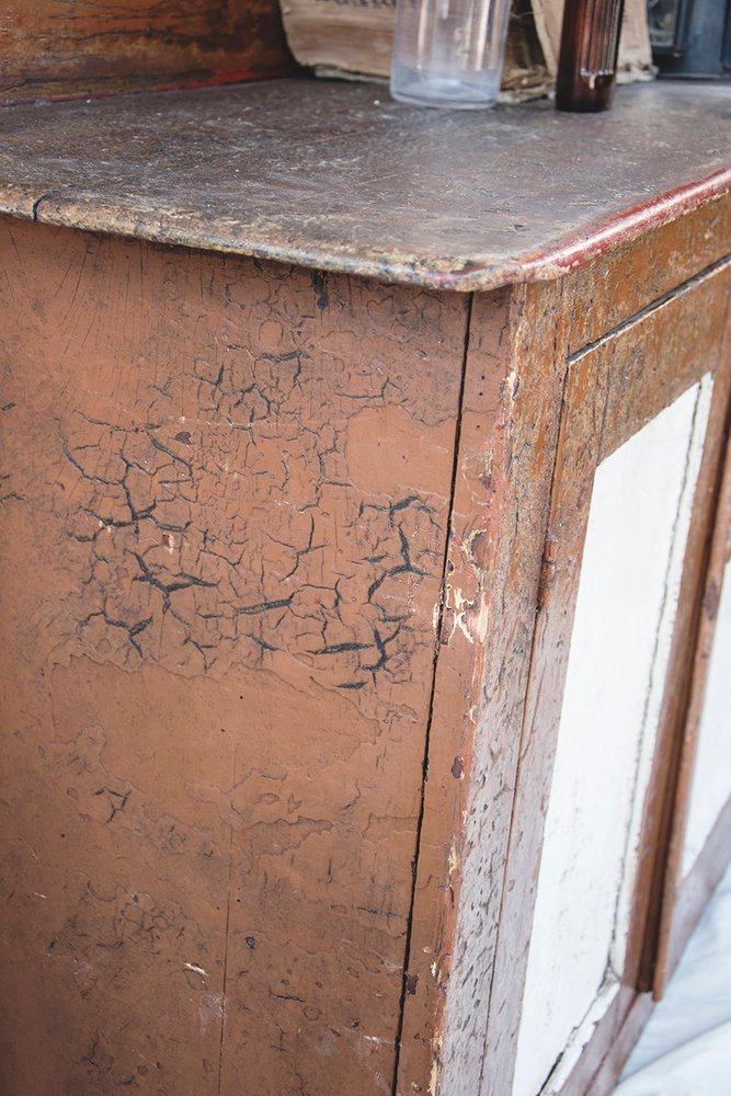 Decorative Antiques Bristol Chiffonier cabinet original paint patina.