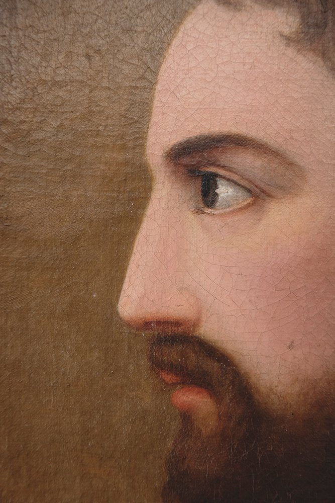 19th Century Oil Painting Of Jesus Christ. Religious Artwork