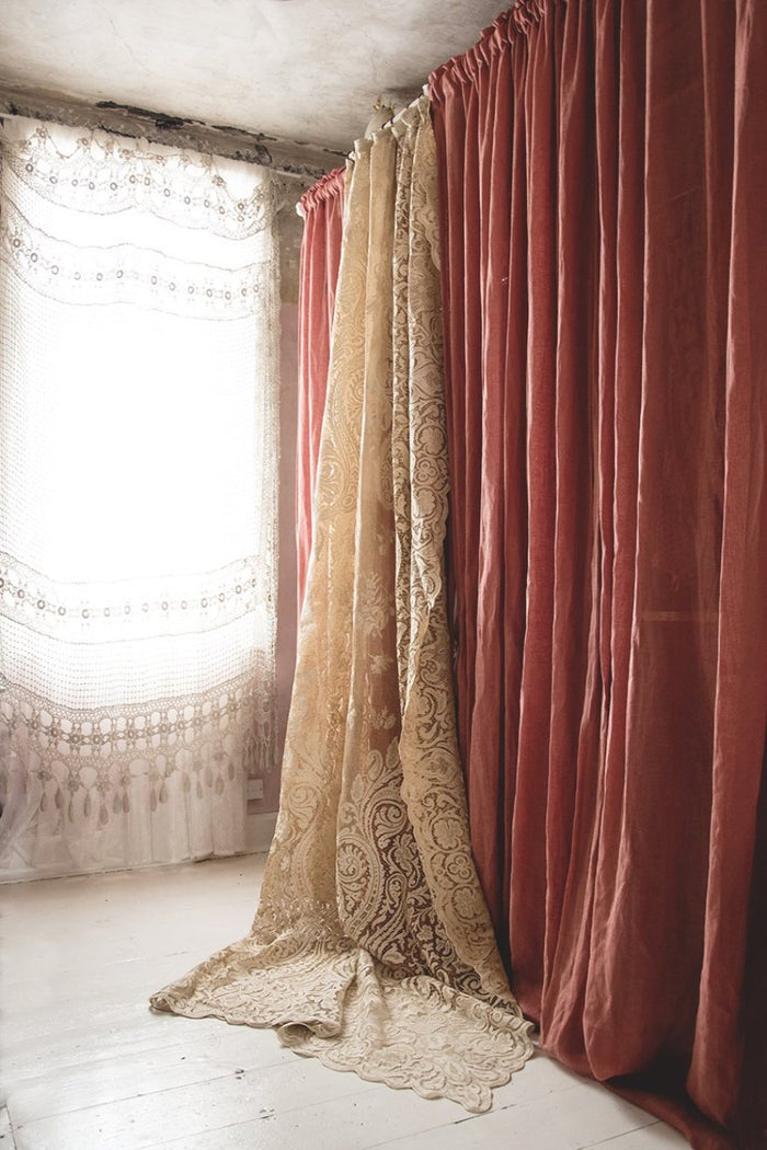 Vintage lace French curtain, great for bohemian style interiors
