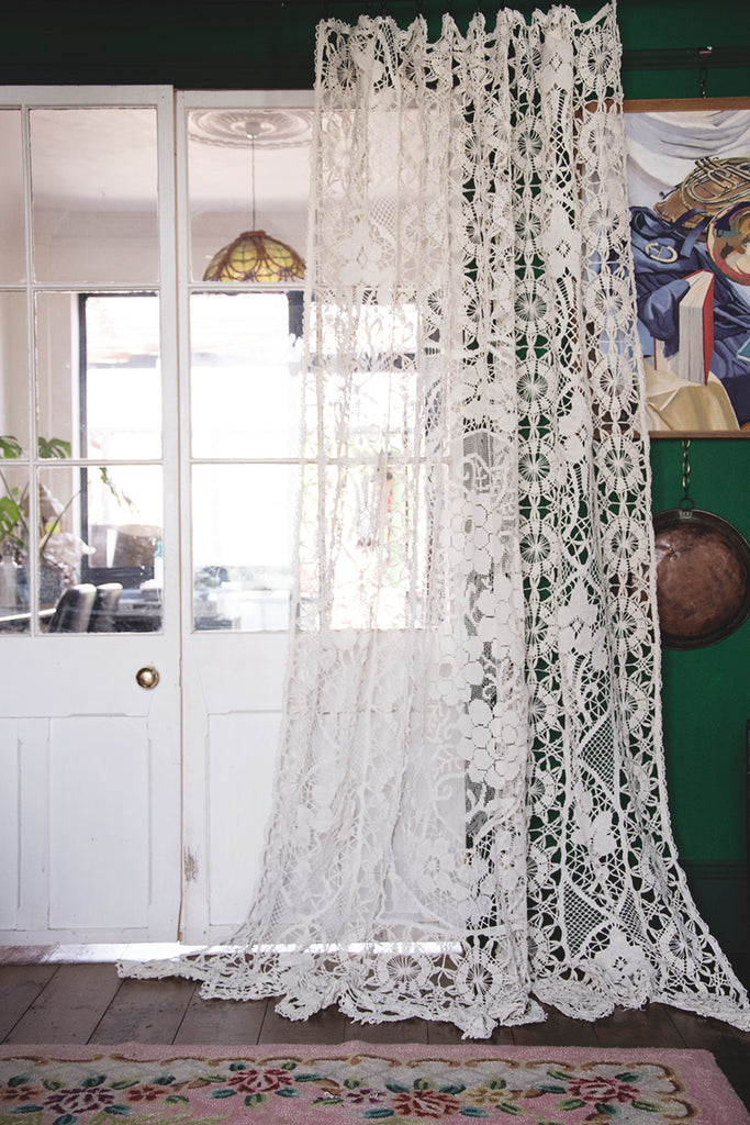 Antique Lace and Crochet Curtain. Interior design masters TV