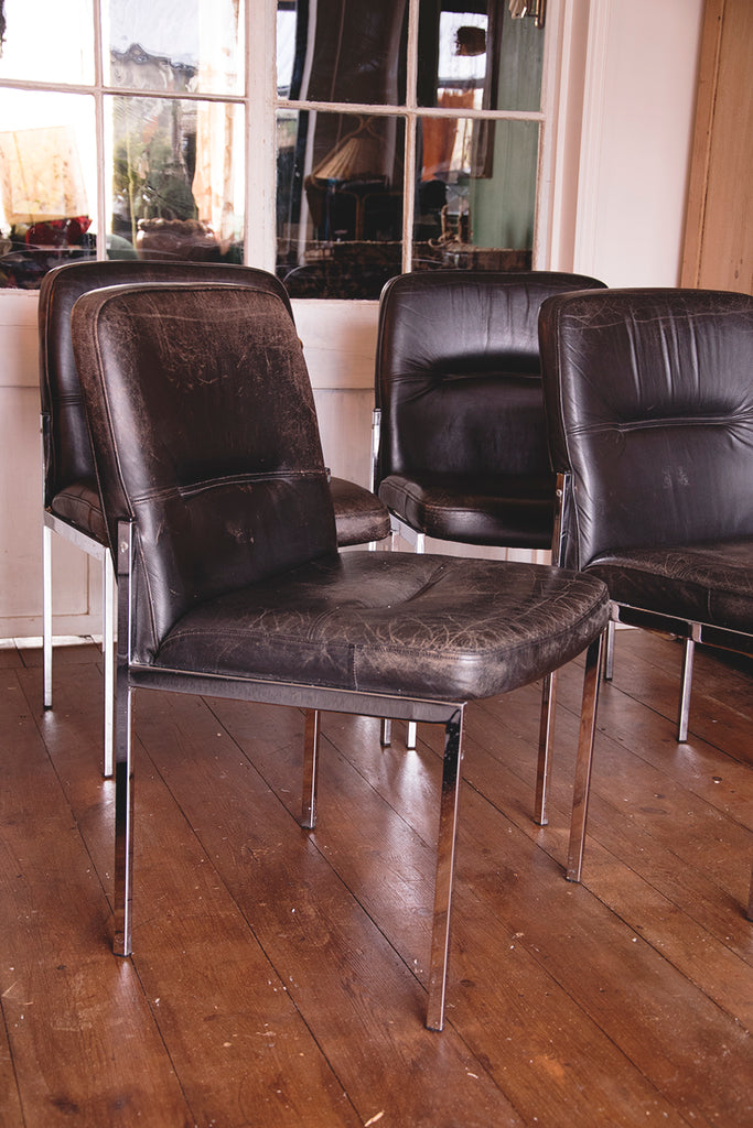 Set of Mid Century Leather Chairs