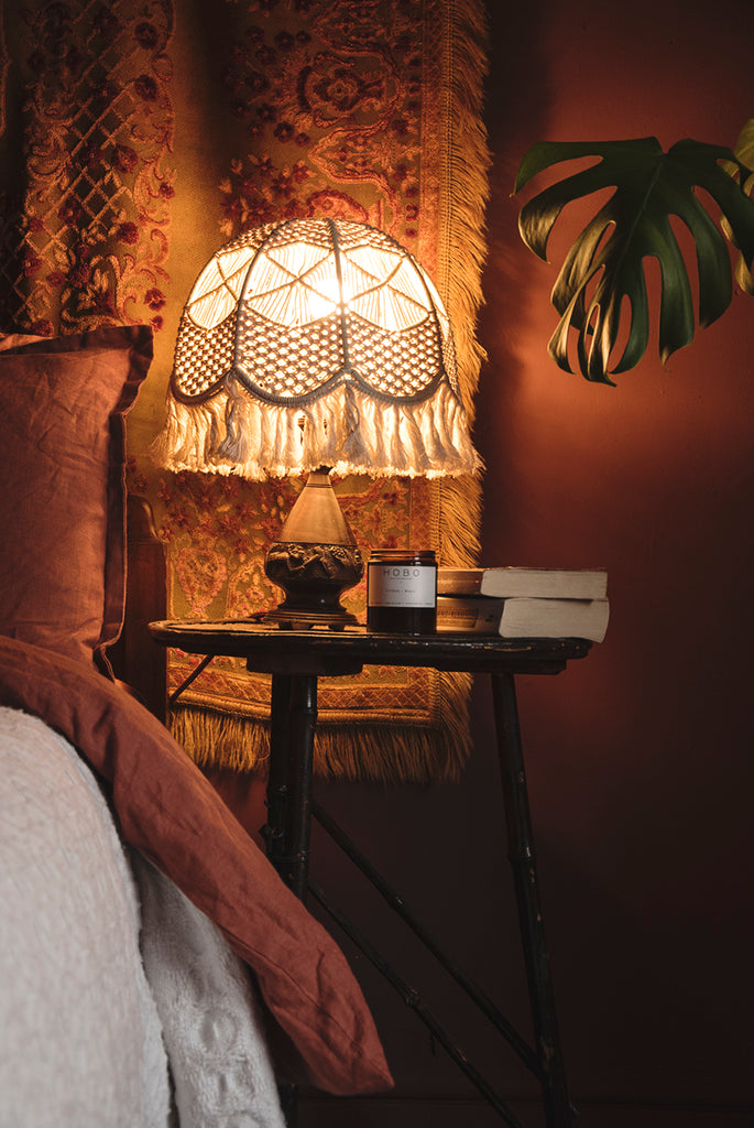 Pair of Carved Wood Lamp with Macramé Shades