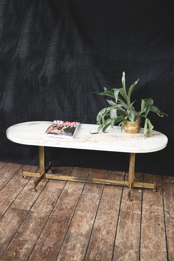 marble and brass coffee table. product styling and interior design Bristol