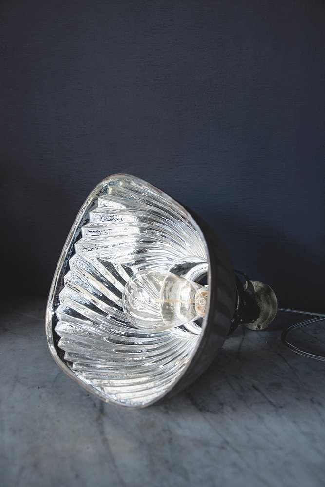 Vintage industrial mirror lamp shades. Original Hanging lighting Bristol