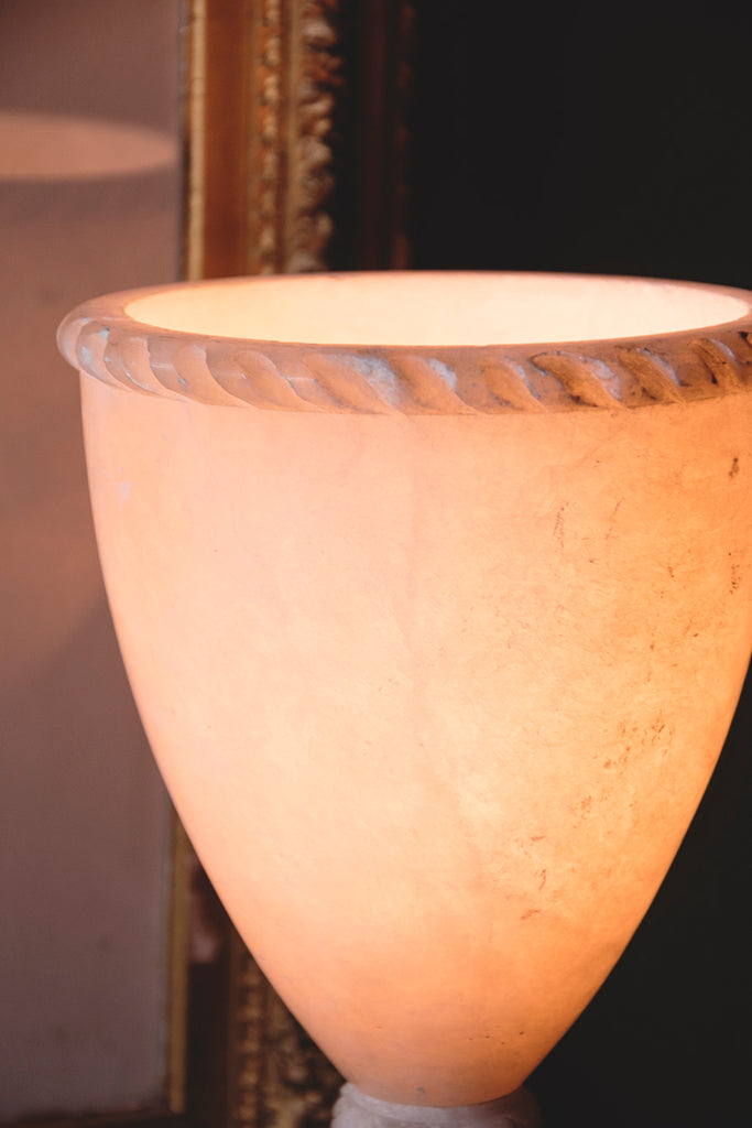 Vintage lighting and decorative alabaster lamp. Interior designer in Bristol Cassie Nicholas studios