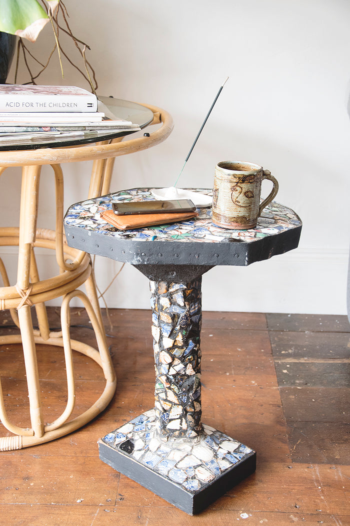 Handmade Folk Art Pique Assiette Mosaic Side Table. Black