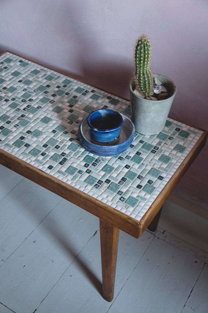 Vintage Mosaic Top Side Table