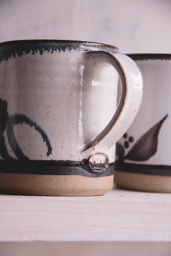 Set of five Lacock Pottery Coffee Cups