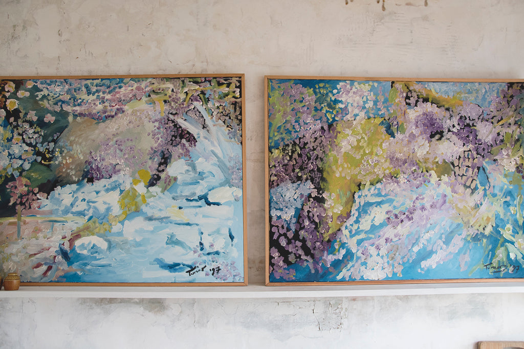 Large Pair of Acrylic Paintings