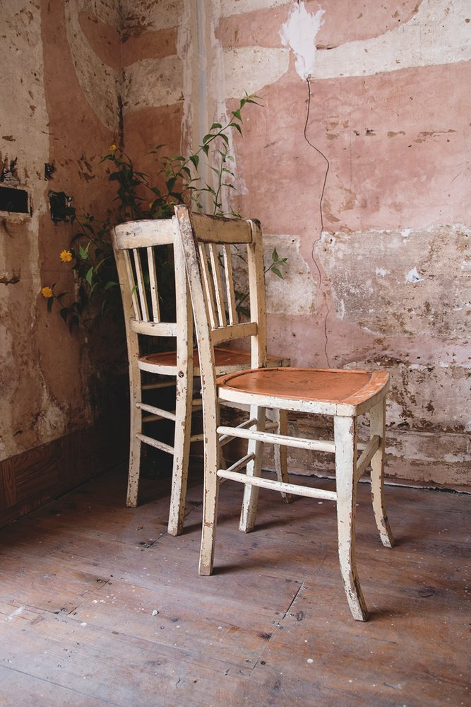 Rustic pair of painted chairs. Vintage seating and furniture Bristol Dig Haushizzle
