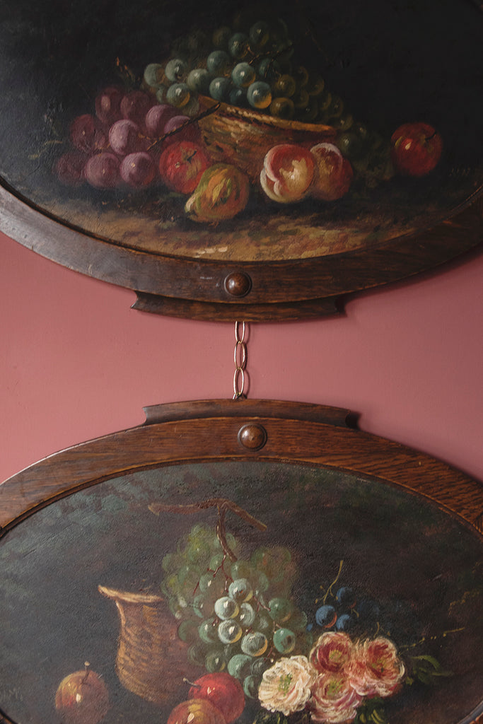 Pair of Framed Oval Fruit Still Life Paintings
