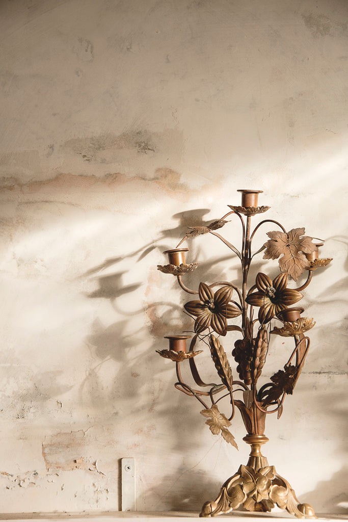 Antique Grape And Wheat Candle Sticks. Cassie Nicholas interiors styling
