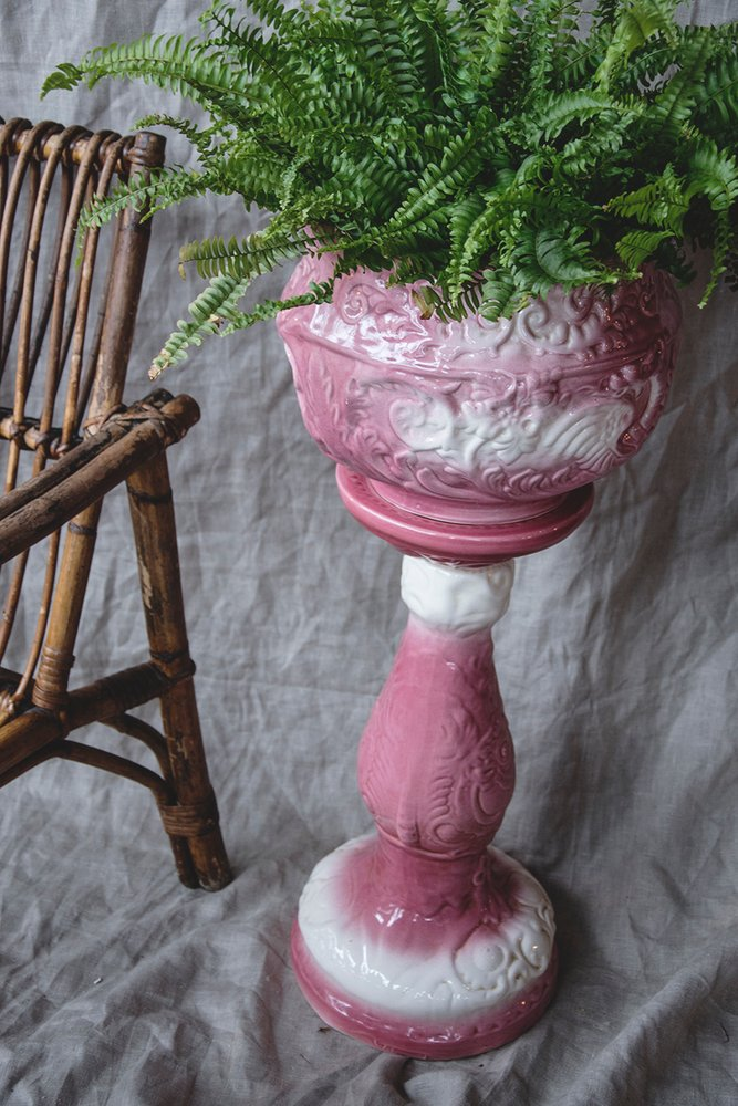 Pink ceramic plant pot and stand. Victorian jardiniere. Unique interior design Dig Haushizzle Bristol