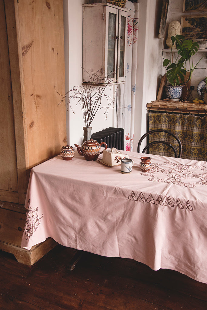 Pink Embroidered Cotton Tablecloth