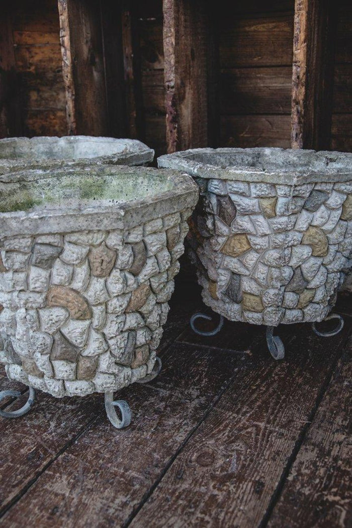Vintage stonework planters raised up on three legs. Vintage garden antique gardener. Bristol