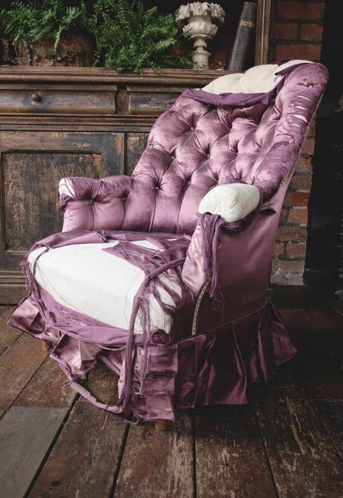 Silk button back armchair. Vintage rustic interiors and decor Bristol