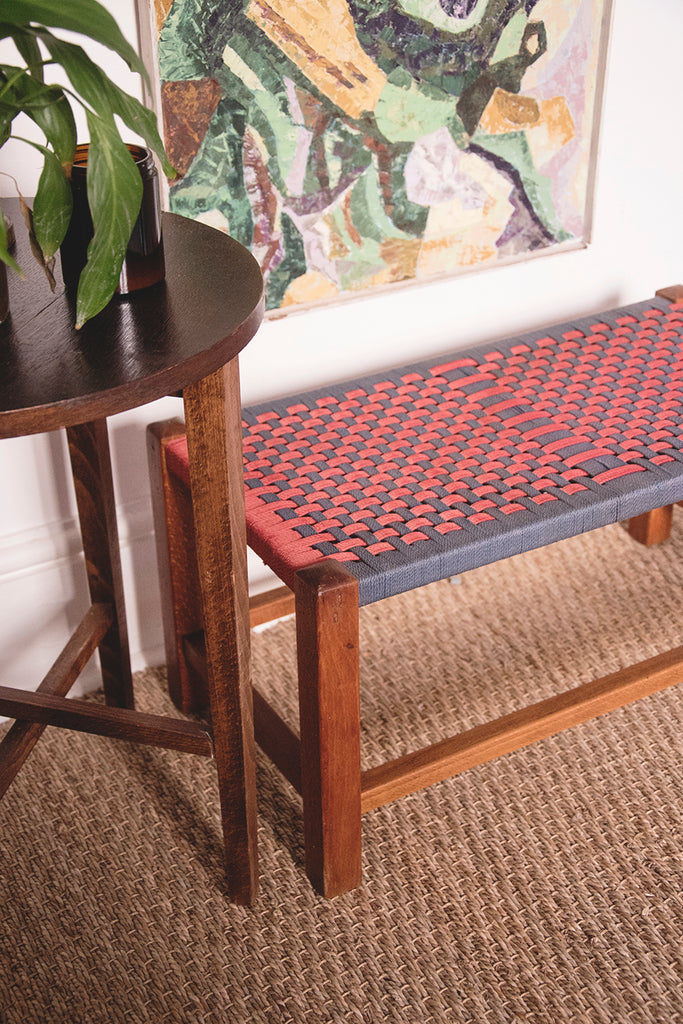 Vintage Colourful Woven Stool