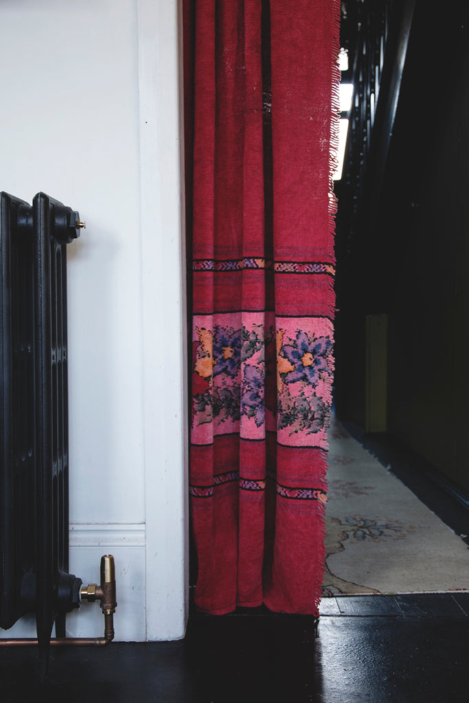 Floral vintage Chenille Curtain